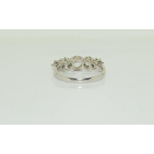 1383 - A Good 18ct white gold five stone diamond ring of 1.7cts approx. Size O....