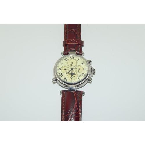 1149 - A gents steel cased wristwatch on leather strap.
