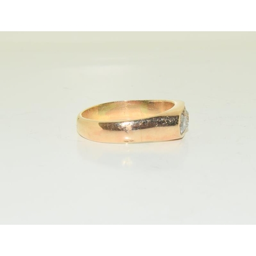 1397 - An 18ct yellow gold diamond three stone ring of 1.25cts approx. Size Z....