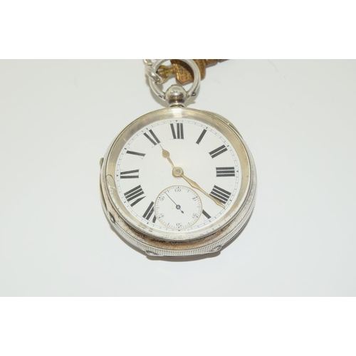 1284 - Silver hallmarked pocket watch together with a graduated silver watch chain and a Samson & Morden pe...