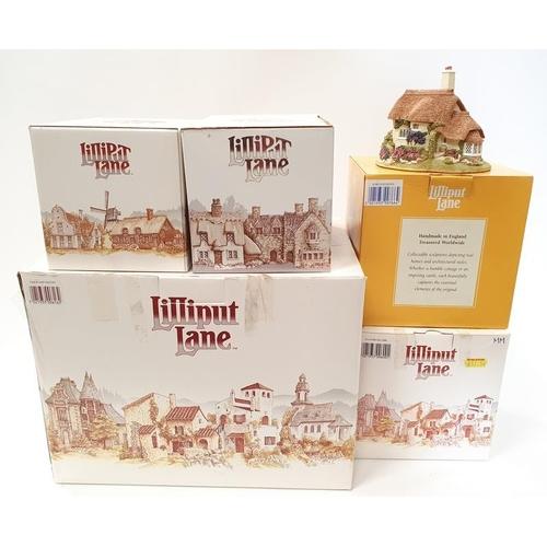 100 - Lilliput Lane x 5: The Green Grocer, Bridle Way, Flower Sellers, Porlock Down, Oakwood Smithy....