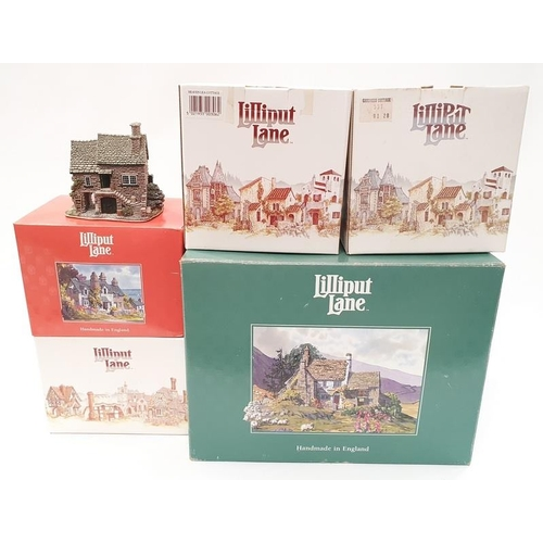 105 - Lilliput Lane x 5: The Toy Shop, Kendal Tea House, Heaven Lea Cottage, Gardiners Cottage, Harvest Ho...