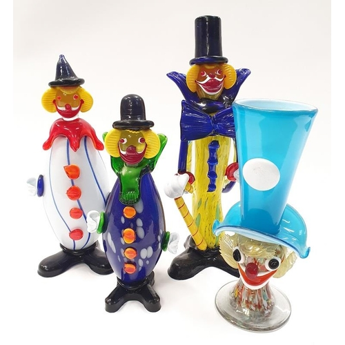 18 - Collection of four Murano glass clown figures....