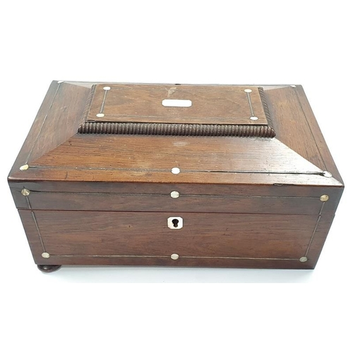 44 - A vintage mahogany jewellery box with mother of pearl inlay to lid....