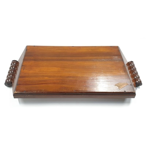 81 - A twin handled mahogany inlaid breakfast tray with butterfly wing decoration to centre....