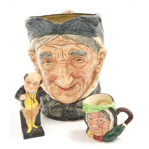 14 - Doulton full-size character jug Grammy Doulton Miniature character jug sariy Grant and a Doulton fig...