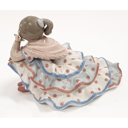 22 - Lladro Model 5389 Deep in Thought  flamingo girl in polka dot frock....