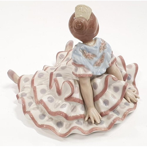 26 - Lladro model 5391 Deep in Thought flamenco flamingo girl in polka dot dress....