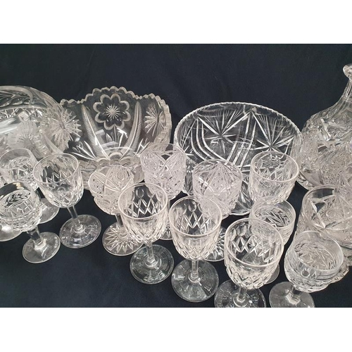 57 - Box of mixed crystal glassware to include bowls and wine glasses....