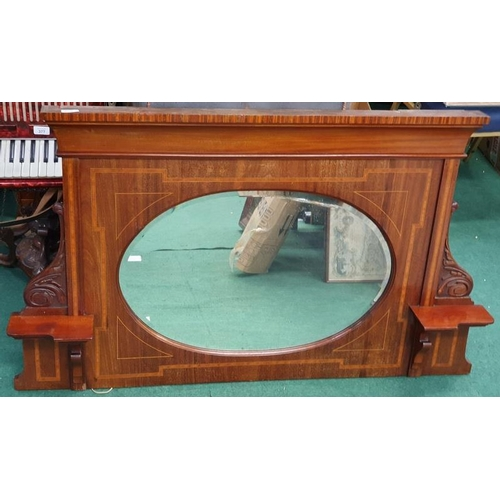 1402 - Edwardian inlaid overmantle mirror with bevelled edge glass and oval mirror shape....