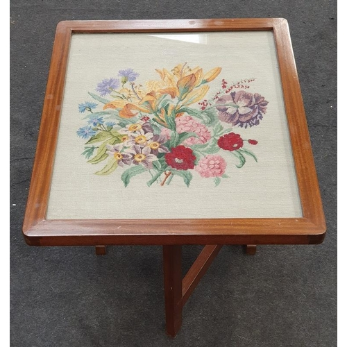 1403 - Mahogany tilt-up tapestry fire screen converts to to wine table....