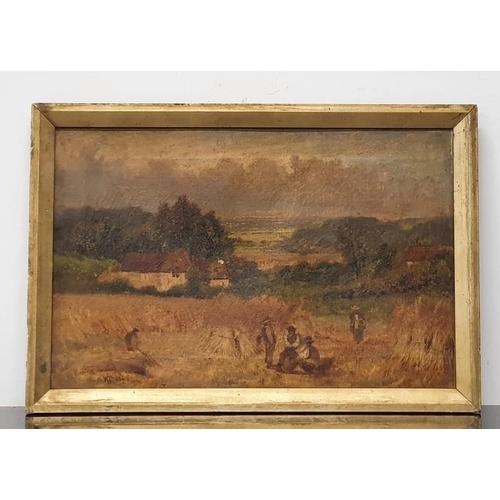 75 - W Thorpe 87 Farm harvest scene oil on canvas 50x25cm.