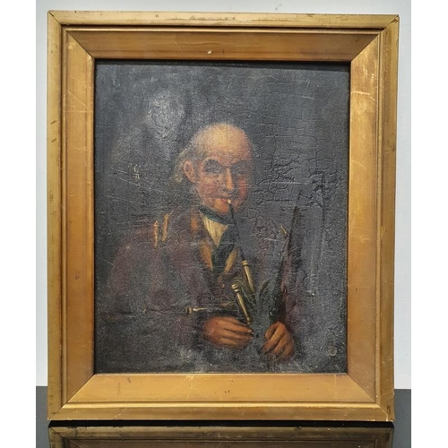 76 - Vintage oil on board painting of a gentleman playing bagpipe needing a clean.