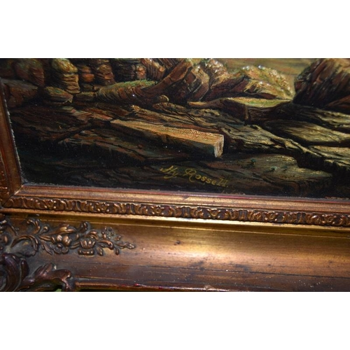 457 - Early oil on canvas ships in the gilt frame possibly Dutch. 75 by 65 cm. Signed Hy Rossell.