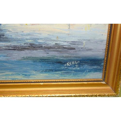 265 - Gilt frame oil on canvas of a schooner signed Keele 71 70 x 58 cm.
