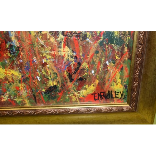 458 - Gilt framed abstract oil on board signed to the right-hand corner. 80 x 60 cm.