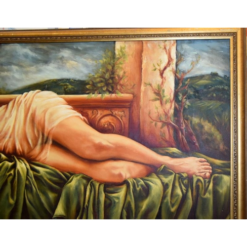 479 - Large self portrait of a Lady in a gilt frame. 160 x 100cm.