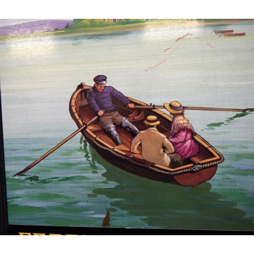 478 - A large double pub sign -  The Ferry Boat Inn. 105 x 90 cm.
