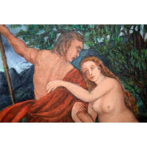 460 - Oil on canvas gilt framed Adam and Eve. 85 x 70 cm....