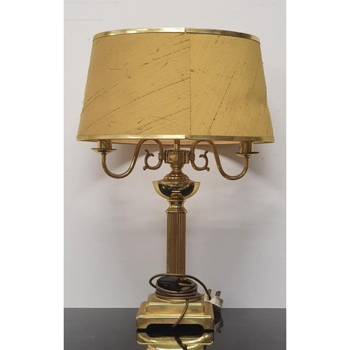 36 - A brass column table lamp with shade together with a small marble table lamp (no shade).