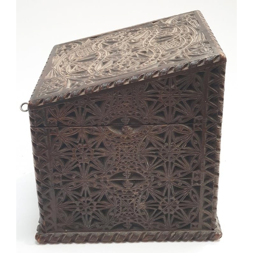 55 - A heavily carved vintage wooden letter box with key....