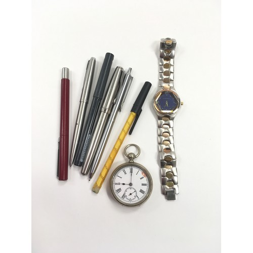 163 - Mixed bag of watches and pens.
