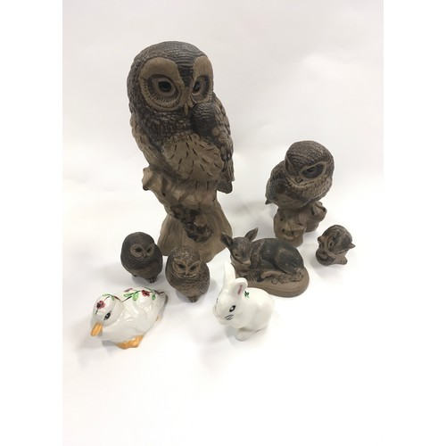 59 - Quantity of Poole Pottery animals to include large owl....