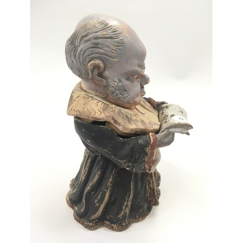 62 - Unusual German tobacco jar and cover in the for of an old man reading....