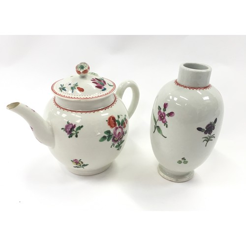 169 - 1800-1820 miniature teapot and matching Tea caddy (possibly Worcester)....
