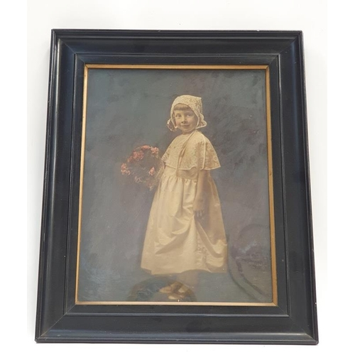 475 - 1920's framed painting of a young girl.