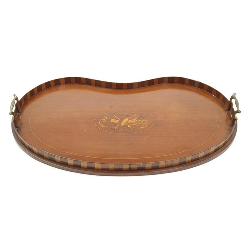 70 - Edwardian mahogany kidney shaped inlaid tray....