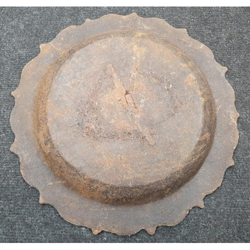 118 - Chinese cast dish with marks.
