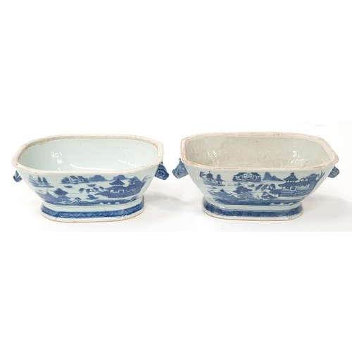 37 - Two oriental blue and white twin handled dishes late 19th Century....