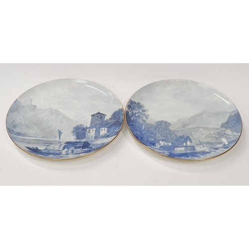 38 - Two large blue and white wall chargers oriental scenes....
