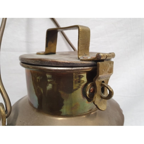 409 - A vintage brass hot meal or water flask....