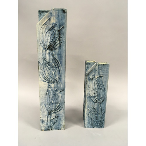 191 - Pair of Carn Pottery cross top vases....