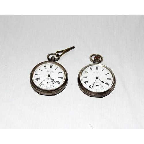 1369 - Two working silver cased pocket watches....