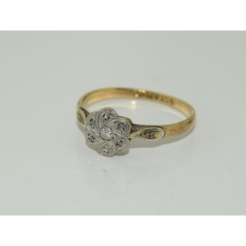 1376 - A Diamond Deco platinum and 9ct gold ring....