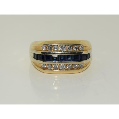 1400 - 14ct gold mans sygnet ring with diamonds a sapphire banding, size Z....