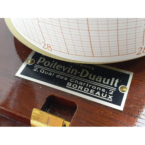 4 - French teak cased barograph by Poitevin-Duault with spare graph papers....