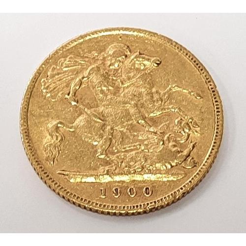 1130 - 1900 half sovereign....