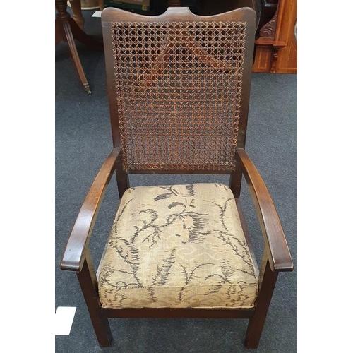 1467 - Vintage oak bedroom chair with rattan back.