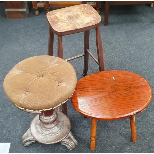 1480 - Three stools to include Victorian rise and fall piano stool....