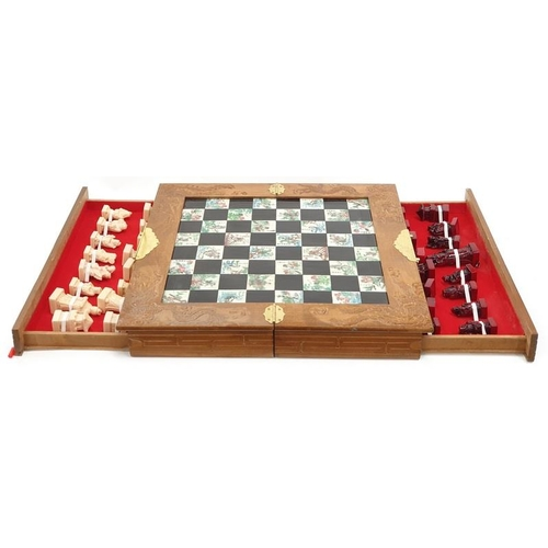 154 - Complete boxed chess set with figures....