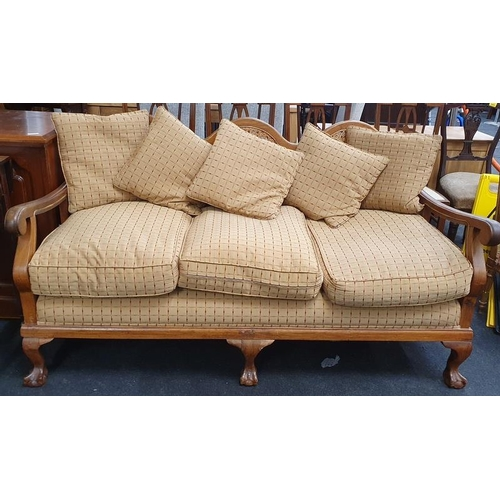 1405 - Bergere walnut 3 seater settee with feather cushions...