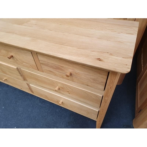 1414 - Oak chest of drawers, 3/4....