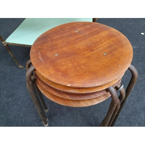 1433 - 4 retro metal leg stacking stools together with a brass metal trolley...