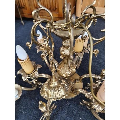 1435 - Two brass chandelier broom lamps....