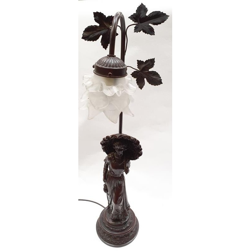 431 - Bronzed lamp with opaque shade....