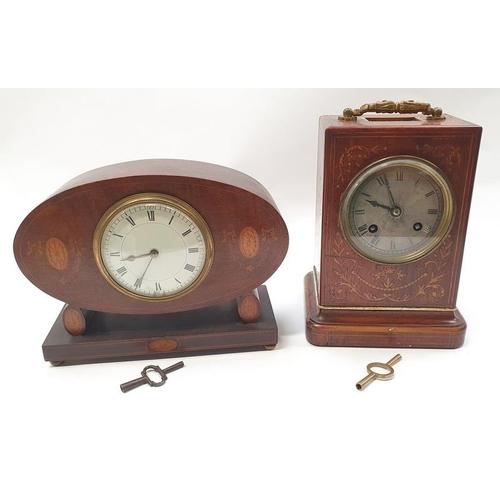 1382 - Two Edwardian inlaid mantel clocks with keys....